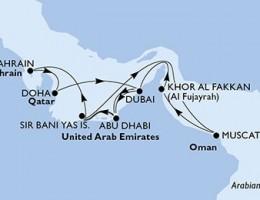 14 Noches por Emiratos Árabes Unidos, Omán, Bahréin, Qatar a bordo del MSC Splendida