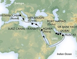 16 Noches por Italia, Grecia, Egipto, Jordania, Omán, Qatar, Emiratos Árabes Unidos a bordo del MSC Splendida