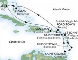 11 Noches por Estados Unidos, Puerto Rico, Antigua y Barbuda, Barbados, Granada, St. Kitts, Islas Vírgenes (Británicas), Bahamas a bordo del MSC Divina