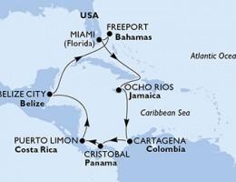 11 Noches por Estados Unidos, Jamaica, Colombia, Panamá, Costa Rica, Belice, Bahamas a bordo del MSC Divina