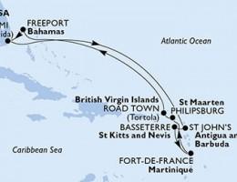 10 Noches por Estados Unidos, Antigua y Barbuda, St. Kitts, Martinica, St. Maarten, Islas Vírgenes (Británicas), Bahamas a bordo del MSC Divina
