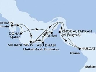 14 Noches por Emiratos Árabes Unidos, Bahréin, Qatar, Omán a bordo del MSC Splendida