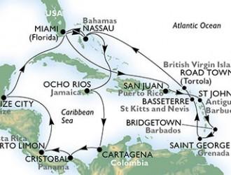 22 Noches por Estados Unidos, Bahamas, Jamaica, Colombia, Panamá, Costa Rica, Belice, Puerto Rico, Antigua y Barbuda, Barbados, Granada, St. Kitts, Islas Vírgenes (Británicas) a bordo del MSC Divina