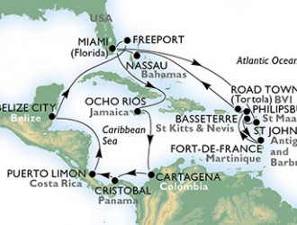 21 Noches por Estados Unidos, Antigua y Barbuda, St. Kitts, Martinica, St. Maarten, Islas Vírgenes (Británicas), Bahamas, Jamaica, Colombia, Panamá, Costa Rica, Belice a bordo del MSC Divina